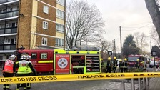 Six fire engines and crews battle Brixton blaze.