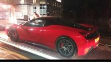 The Ferrari 458 that was seized in Salford