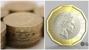 Out with the old, in with the new: the 12-sided £1 will be released into circulation in March