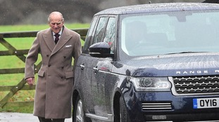 The Duke of Edinburgh at Sandringham today.