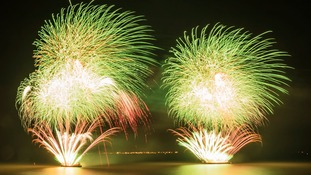 Fireworks light up the sky over the Humber River