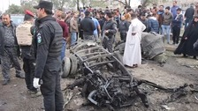 The scene of the car bombing.