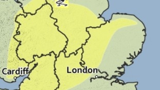 Area covered by the yellow weather warning for ice valid until 10am.