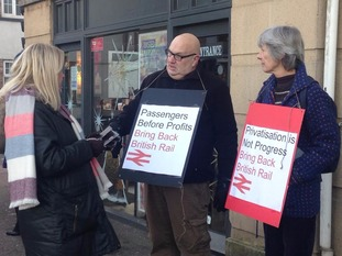 Campaigners outside Exeter St David's station