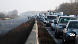 There is heavy traffic on the A19