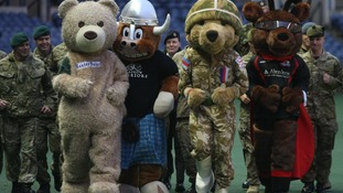 The mascots line up for the start of their fun run in Scotland