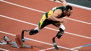 South Africa's Oscar Pistorius starts the Men's 400m T44 final at the Olympic Stadium, London.