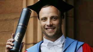 Oscar Pistorius after receiving his honorary degree