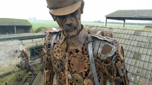 Scrap metal soldier built from old horse shoes and spanners to commemorate Great War