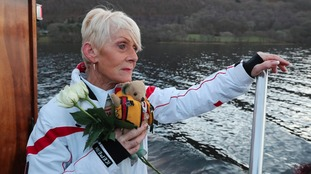 Fifty years on - speed ace's daughter lays flowers on the lake where he died