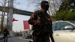 Turkish special forces patrol near the scene of the attack.