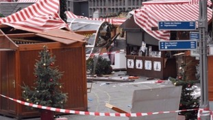 The scene of devastation following the attack.