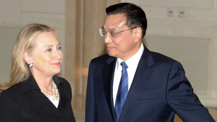 US Secretary of State Hillary Clinton meeting China's Premier-in-waiting  Li Keqiang
