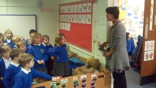 The Duchess visiting children at Holley Park Primary School
