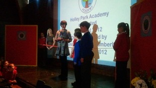 The Duchess of Northumberland cut the ribbon to signify the reopening of the school as an academy