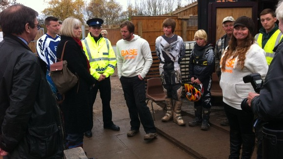 Home Secretary Theresa May meets young people who are taught riding skills and first aid at the project
