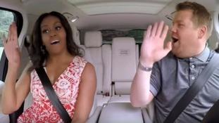 Michelle Obama and James Corden on Carpool Karaoke.