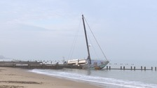 John Favell's yacht grounded at Happisburgh in Norfolk.