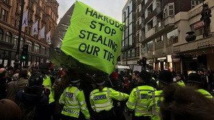 Two arrested during Harrods tips protest