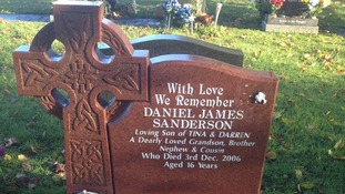 The gravestone of Daniel Sanderson, who was 16 years old when he passed away was damaged,