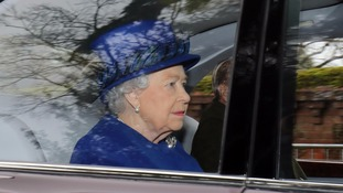 The Queen attends church at Sandringham after heavy cold