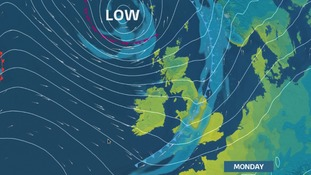 Stronger winds and a spell of rain for Monday, colder air to follow