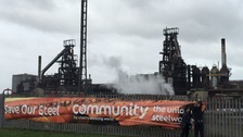 Union protest outside steelworks