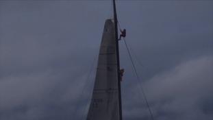 Cambridgeshire sailor saves crewman clinging to mast.