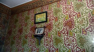 Some of the hand-painted wall paper at the David Parr house in Cambridge.