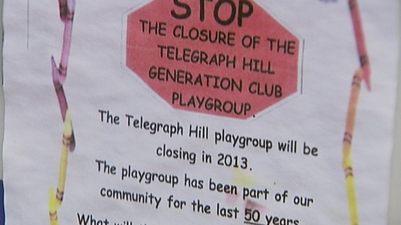 Sign outside Telegraph Hill playgroup in Lewisham.