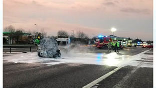 Five escape unharmed after M40 vehicle fires