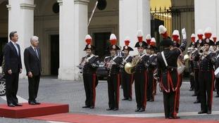 David Cameron with the Italian PM Mario Monti in Rome