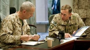 General John R. Allen and General David H. Petraeus attending a meeting Kabul in July 2011