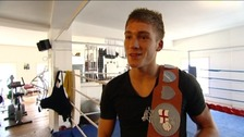 Nick Blackwell holds English title belt