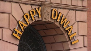 A sign for Diwali in Leicester