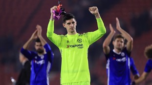 Chelsea goalkeeper Thibaut Courtois scores a stunning freekick in training