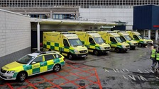 Ambulances line up outside the Royal Liverpool University Hospital A&E