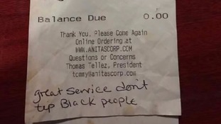 'Don't tip black people': US waitress left racist note on receipt