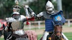 Two men dressed as medieval Knights, similar to those taking part in Leicester today