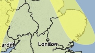 Area covered by the yellow weather warning for the risk of snow on Friday.