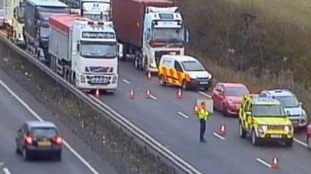 Highways England said it is working hard to re-open the A14 eastbound carriageway