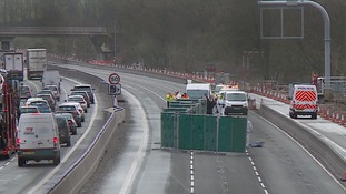 The M1 near Daventry was closed for most of Tuesday.