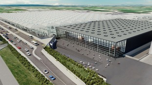 Artist's impression of a new £130 million arrivals building planned for Stansted.