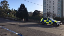 The body was discovered next to a block of flats in Truro Road, St Austell