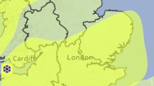 Area covered by the yellow weather warning for the risk of snow and ice on Thursday.