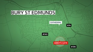 Two men were stabbed in Abbots Gate in Bury St Edmunds on Tuesday.
