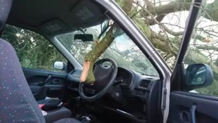 The driver narrowly avoided serious injury after a branch smashed through his windscreen