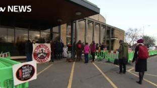 Campaigners outside council meetng