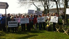 Protesters outside Withybush hospital
