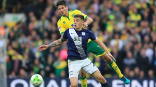 Jordan Hugill in action against Ipswich's rivals Norwich City earlier this season.